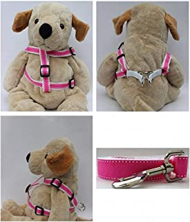"product image for Diva-Dog 'Preppy Pink' Custom 5/8"" Wide Dog Step-in Harness with Plain or Engraved Buckle, Matching Leash Available - Teacup, XS/S"