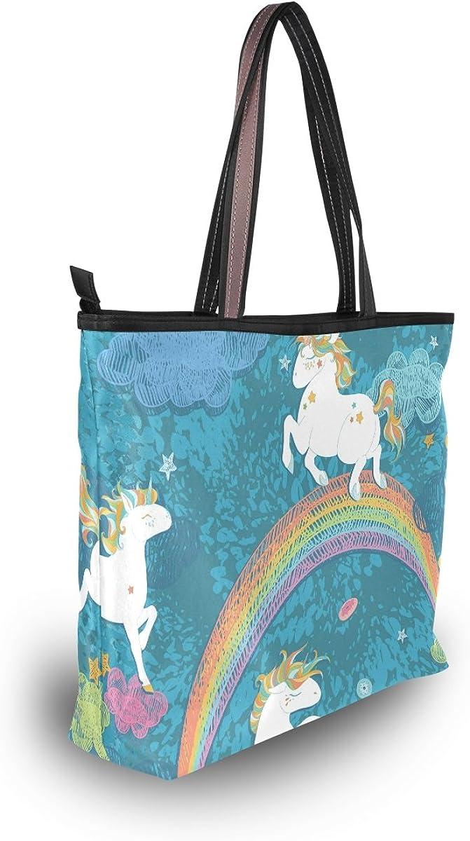 Women Large Tote Top Handle Shoulder Bags Cute Baby Unicorns Partern Ladies Handbag