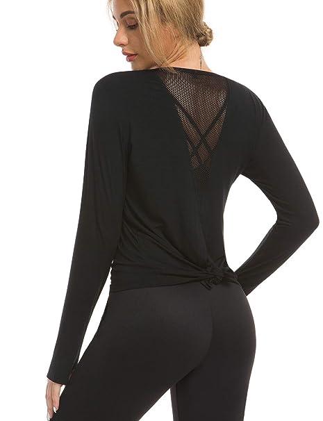 Bamans Womens Cute Mesh Yoga Shirts Activewear Workout Tops Sexy Open Back Long/Sleeveless Crewneck T-Shirts