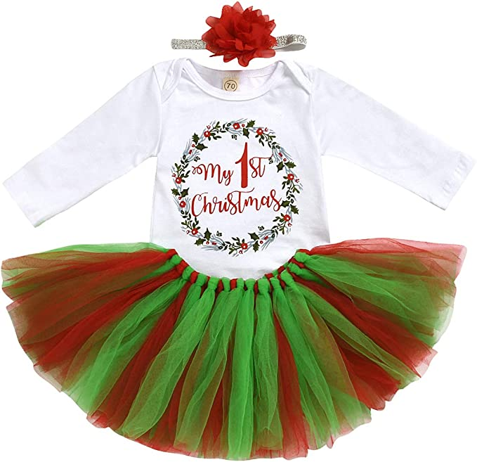 Newborn Baby Girl Christmas Romper Tutu Dress Headband Fancy Costume Outfit 0-9M