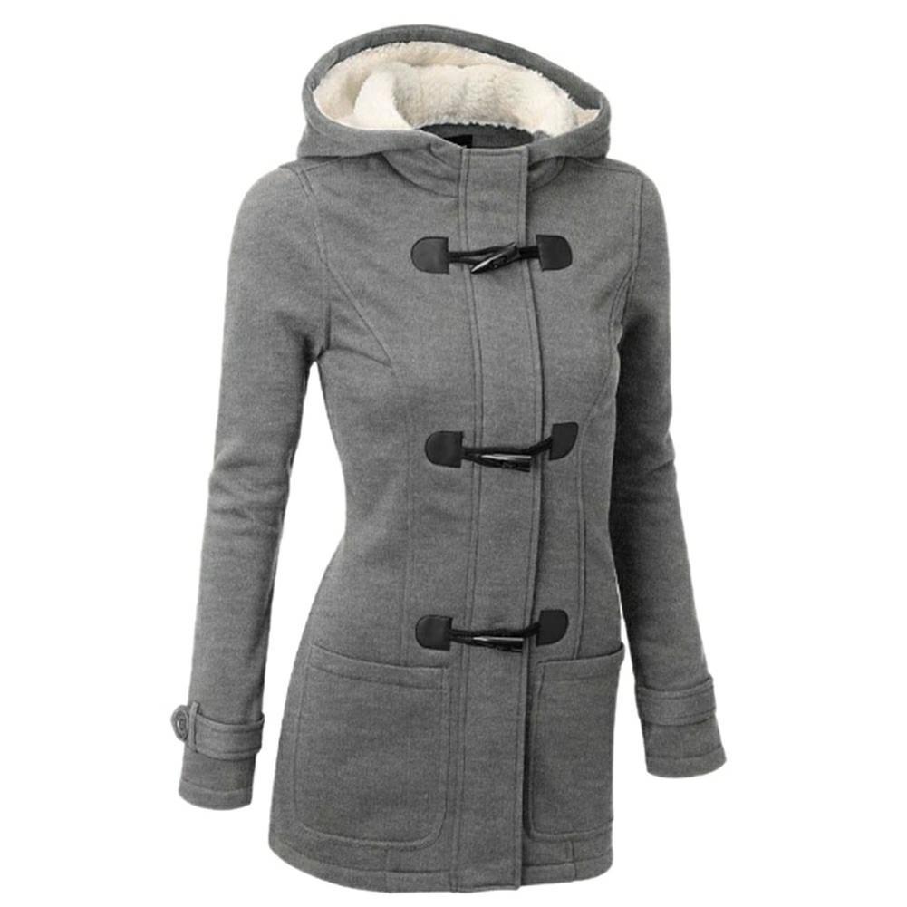 Elfremore Women Winter Cotton Outerwear Slim Fit Hooded Long Jacket Coat