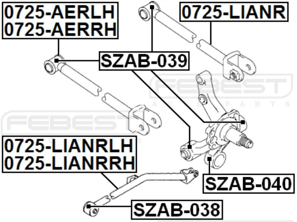 FEBEST SZAB-039 Rear Arm Bushing Assembly