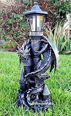 Dragon with Solar Light Statue Solar Dragon Lantern Figurine-f