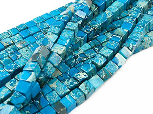 Beads Ok, DIY, Imperial Jasper, Deep Turquoise Blue, Color Enhanced, 6mm, Cube Semi-Precious Gemstone Bead, About 40cm a Strand. (Please Click to See Other Options.) ()