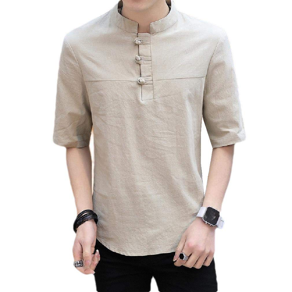 Sayah Mens Round Neck Plus-Size Solid Chinese Style Pullover Tshirt Top