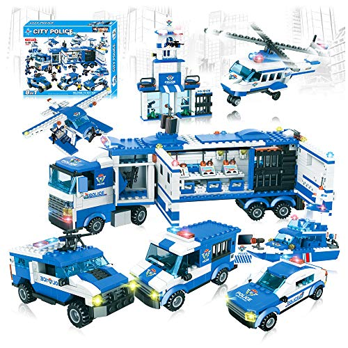 City Swat Police Set 8 in 1 Mobile Command Centre Truck & Patrol Cars Building Blocks Toys -1115pcs (City Police)