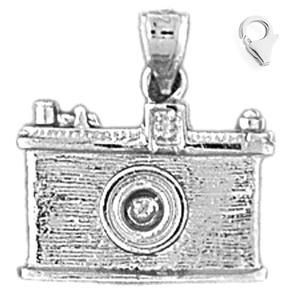 JewelsObsession Sterling Silver 18mm 3-D Camera Charm w//Lobster Clasp