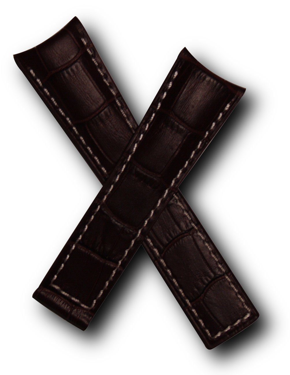 22mm Dark Brown Alligator-style Genuine Leather Watchband with White Stitching to fit TAG Heuer Grand Carrera (Spring bars included)