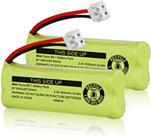 iMah BT18443/BT28443 2.4V 500mAh Ni-MH Cordless Phone Battery Compatible with VTech LS6115 LS6117 LS6125 LS6126 LS6225 Wireless Telephone, Pack of 2