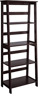 VASAGLE Simple Ladder Shelf, 4-Tier Bookcase, Multifunctional Display Stand for Living Room, Engineered Wood Stand for Sunroom, Brown ULLS90BRV1