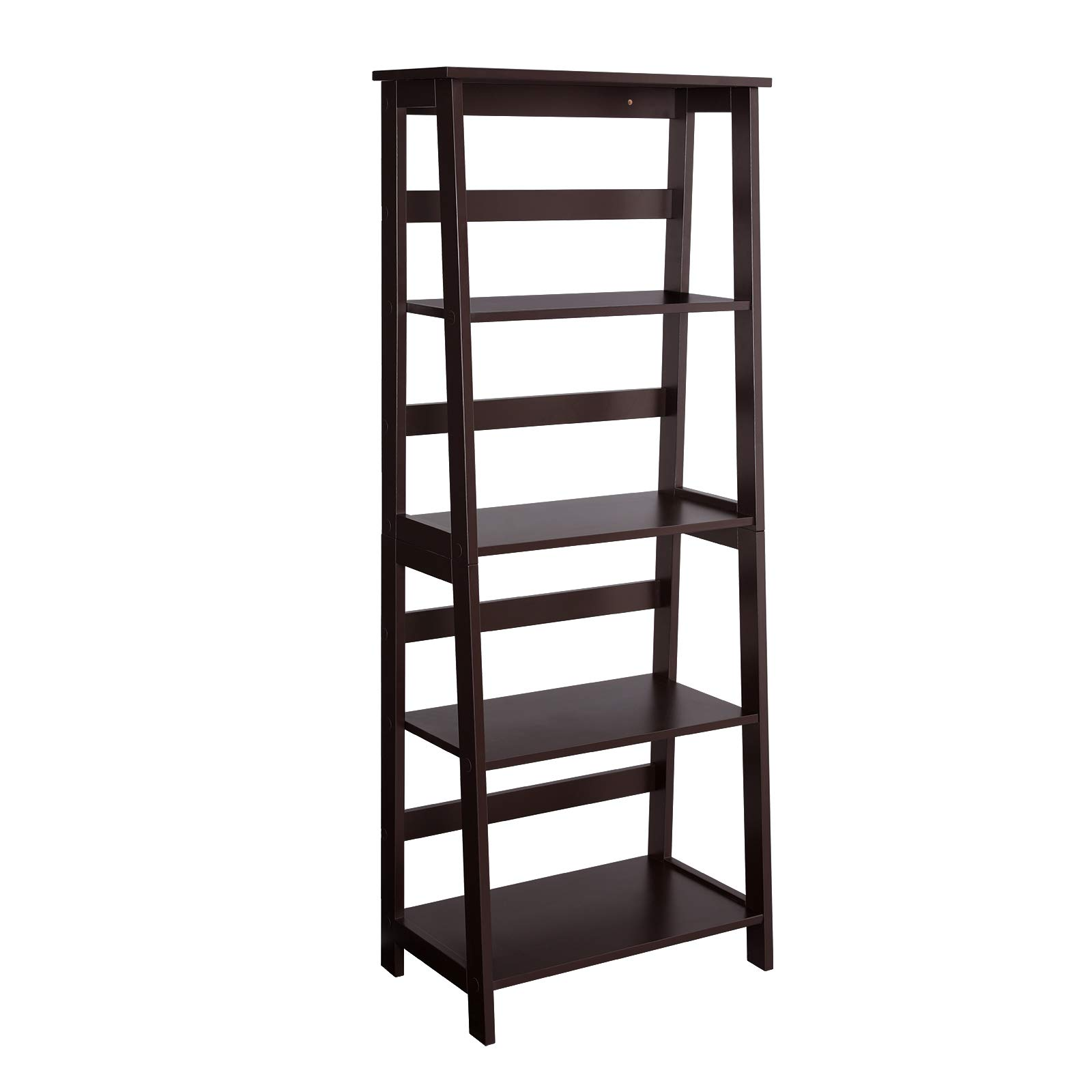 VASAGLE Simple Ladder Shelf, 4-Tier Bookcase, Multifunctional Display Stand for Living Room, Engineered Wood Stand for Sunroom, Brown ULLS90BRV1 by VASAGLE