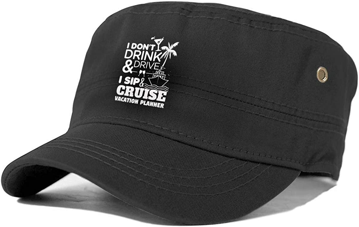 Wuze I Dont Drink and Drive Sip and Cruise Unisex Adult Cotton caps Adjustable Baseball caps Military-Style caps