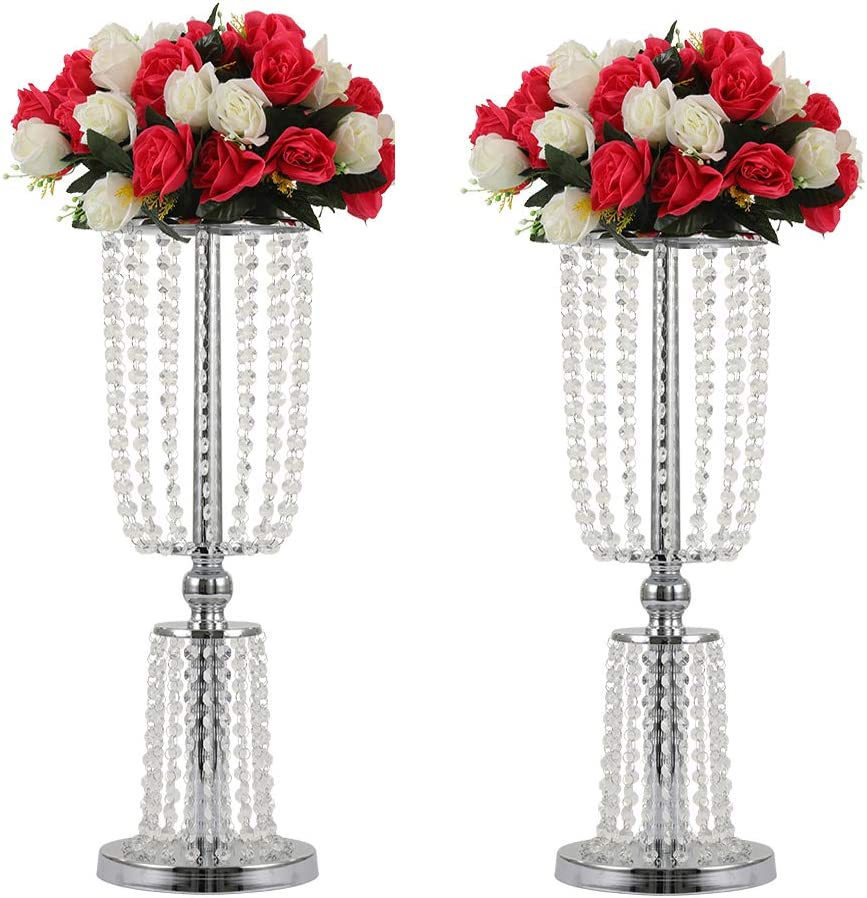 """2Pcs Acrylic Crystal Centerpiece Wedding Backdrop Flower vase Candleholder Table Stand Party Decoration Road Lead Frame Wedding decorationDecor Decorations Room Decoration (Silver, 23.75"""")"""