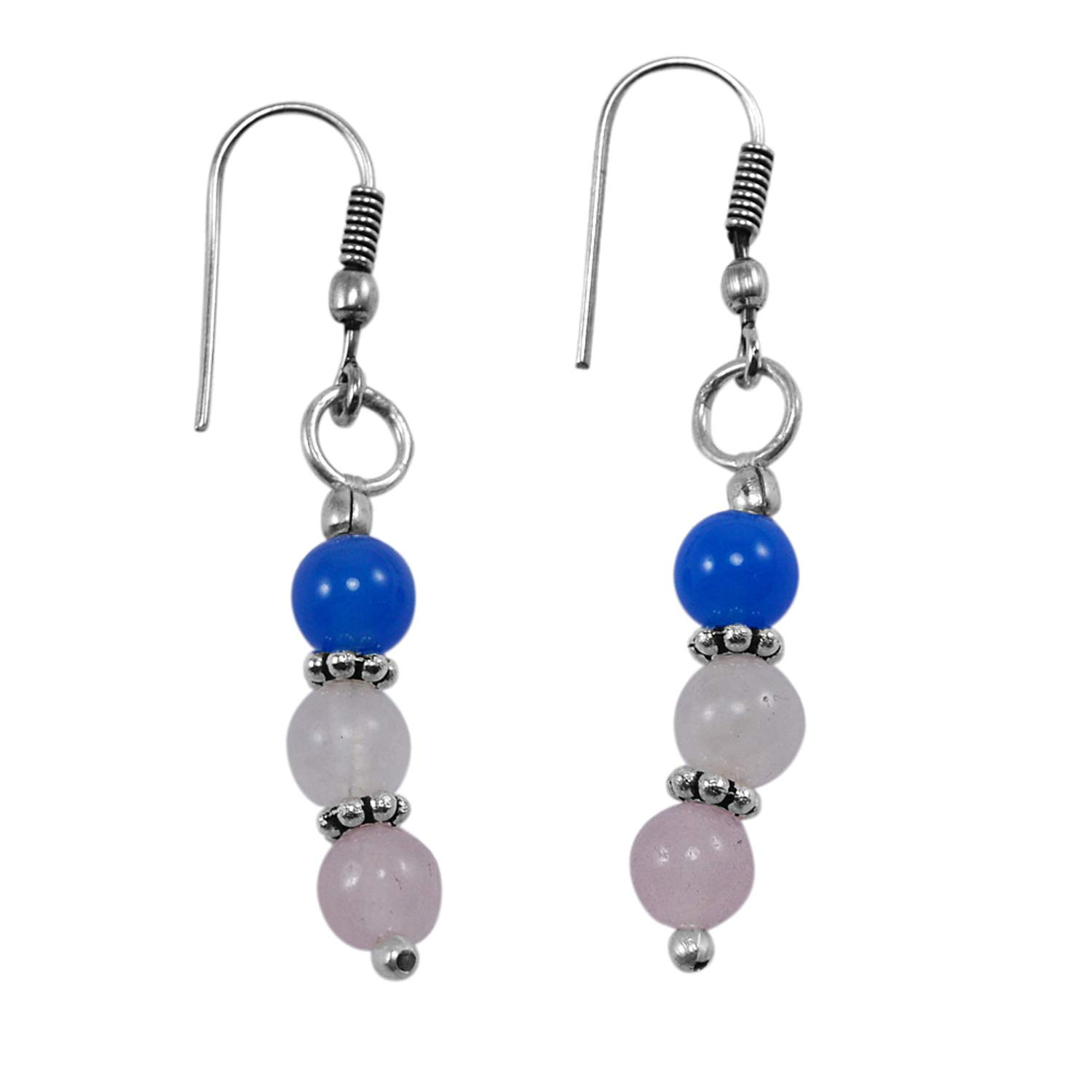 Saamarth Impex Blue Chalcedony /& Rose Quartz 925 Silver Plated Dangle Earring PG-130920