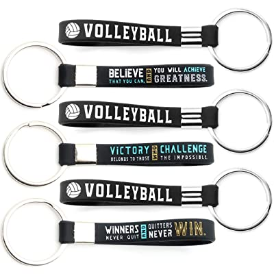 (12-Pack) Volleyball Keychains with Motivational Quotes - Wholesale Pack of Bulk Key Chains for Giveaway Gifts for Team, Volleyball Theme Party Favors and Supplies for Boys Girls Men Women: Health & Personal Care