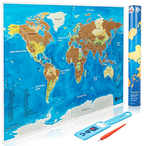 Scratch Off World Map Poster With Us States Outlined   Track Your Adventures And Scratch Off Where Have You Been  Includes Scratch Pen And Luggage Tag  Perfect Gift For Travelers By O E C