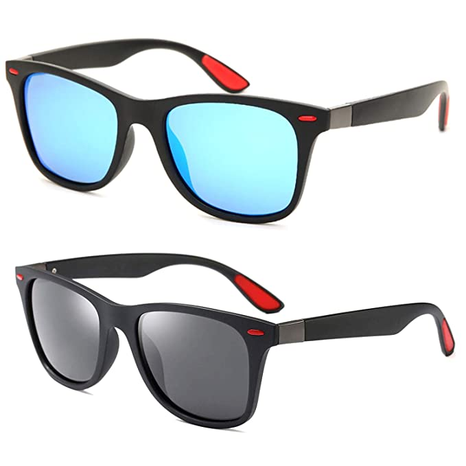 4f60927663b Amazon.com: 2 Pack Polarized 80's Retro Classic Trendy Stylish ...
