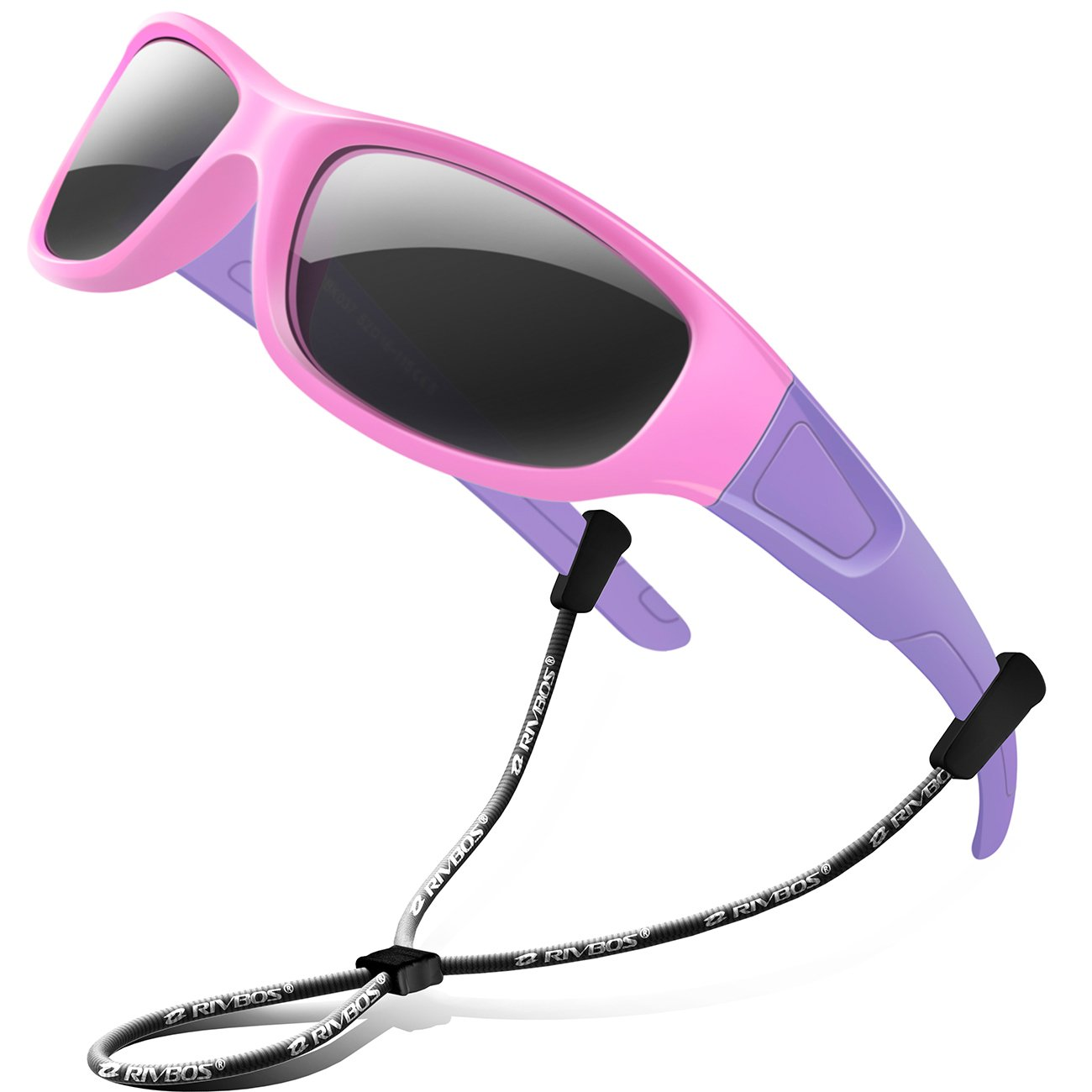 RIVBOS Rubber Kids Polarized Sunglasses With Strap Glasses shades for Boys Girls Baby and Children Age 3-10 RBK037(Pink,Black Polarized Lens)