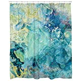 Abstract art shower curtain in blue green, aqua, and cream Cool Cucumber