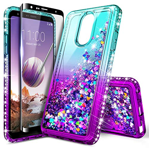 LG Stylo 4 Case, LG Stylo 4+ Plus/LG Q Stylus with Tempered Glass Screen Protector (Full Coverage) for Girls Women Kids, NageBee Glitter Liquid Sparkle Bling Floating Waterfall Cute Case -Aqua/Purple