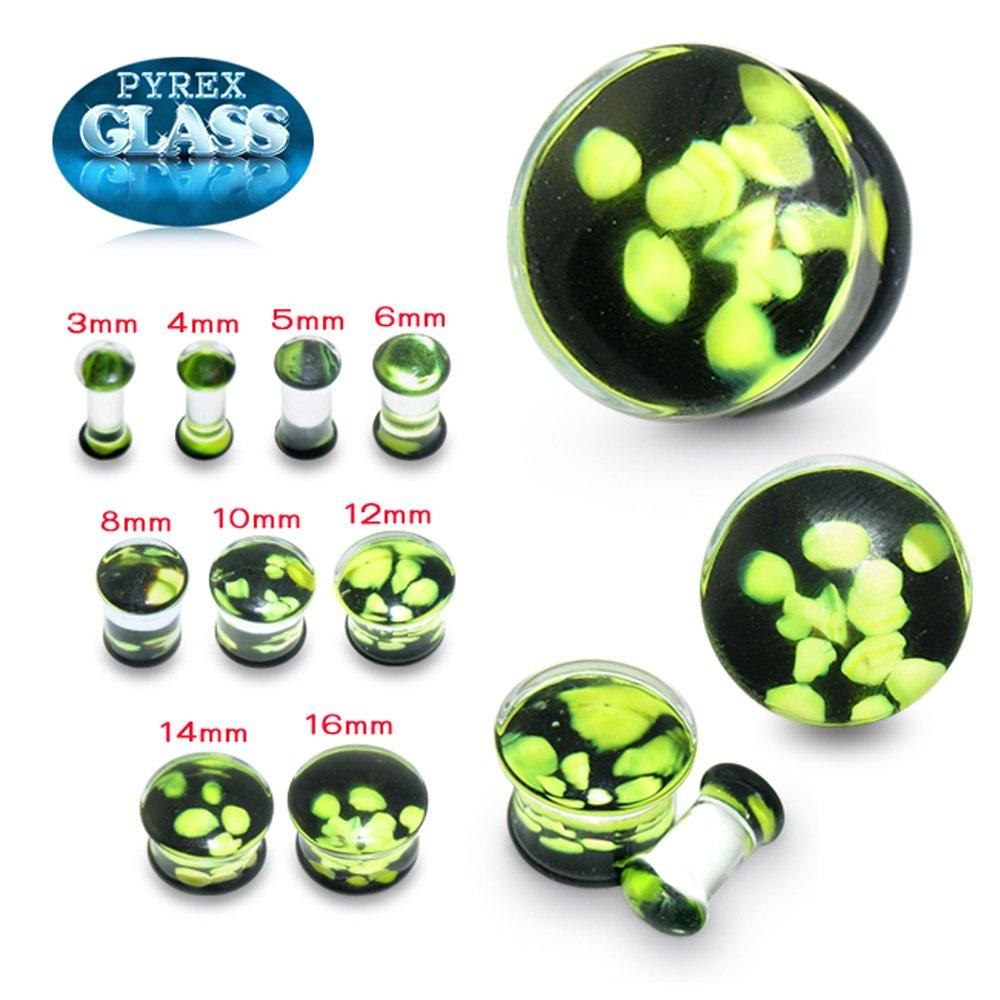 Green Pebble Pyrex Glass Double Flared Saddle Ear Plug Body Jewelry