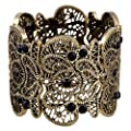D EXCEED Women's Statement Bracelet Lace Filigree Cuff Bracelet Rhinestone Stretch Bangle Bracelet for Ladies 7""
