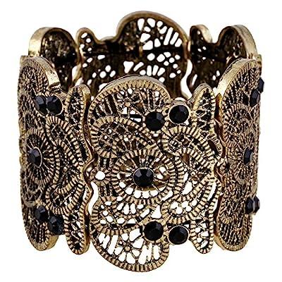 "D EXCEED Women's Statement Bracelet Lace Filigree Cuff Bracelet Rhinestone Stretch Bangle Bracelet for Ladies 7"""