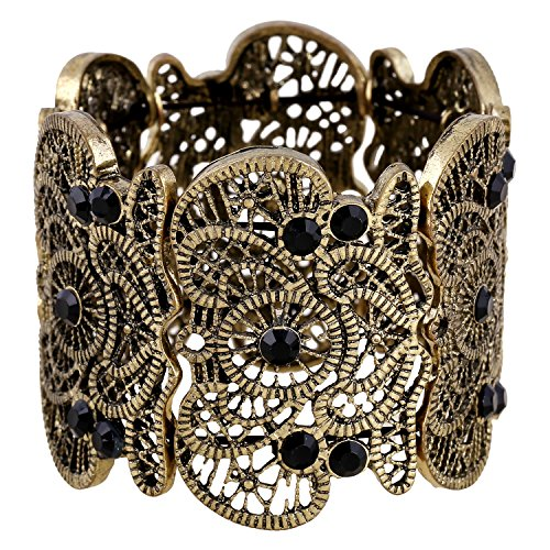 D EXCEED Womens Bohemian Lace Bracelet Vintage Filigree Cuff Bangle Bracelet Wide Stretch Rhinestone Bracelets for Ladies Anti - Stretch Bracelet Large Rhinestone