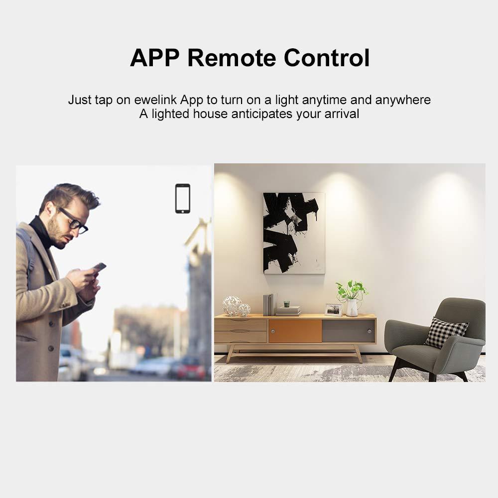 OWSOO SONOFF 3CH Interruptor T/áctil de Pared Inteligente Temporizaci/ón Soporte Control de 433Mhz RF//Control Remoto de App//Control T/áctil Interruptor de Pared WiFi Compatible con Google Home//Alexa