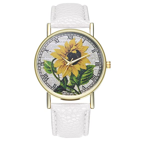 Homim - Reloj de cuarzo con correa de diseño de girasol para mujer (color blanco