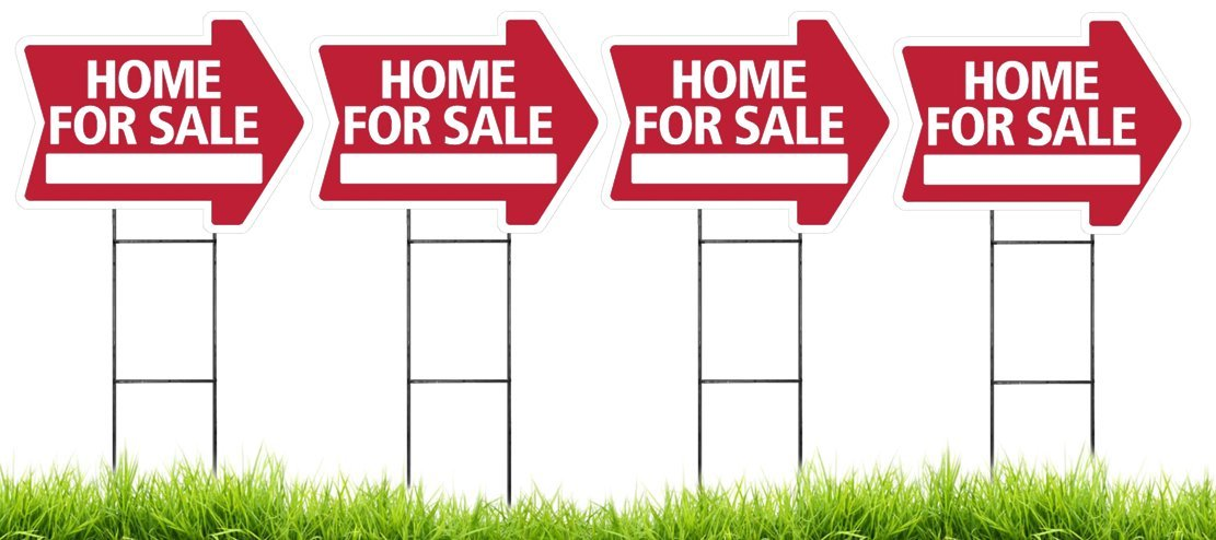 Home For Sale Arrow Shaped Sign Kit with Stands - 4 Pack (Includes 4 signs and 4 stands) (Red)