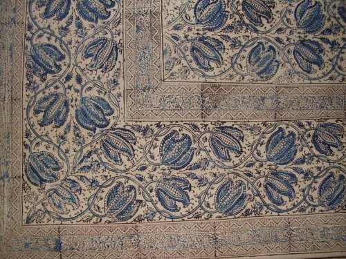"Homestead Veggie Dye Block Print Cotton Tablecloth 90"" x 60"""