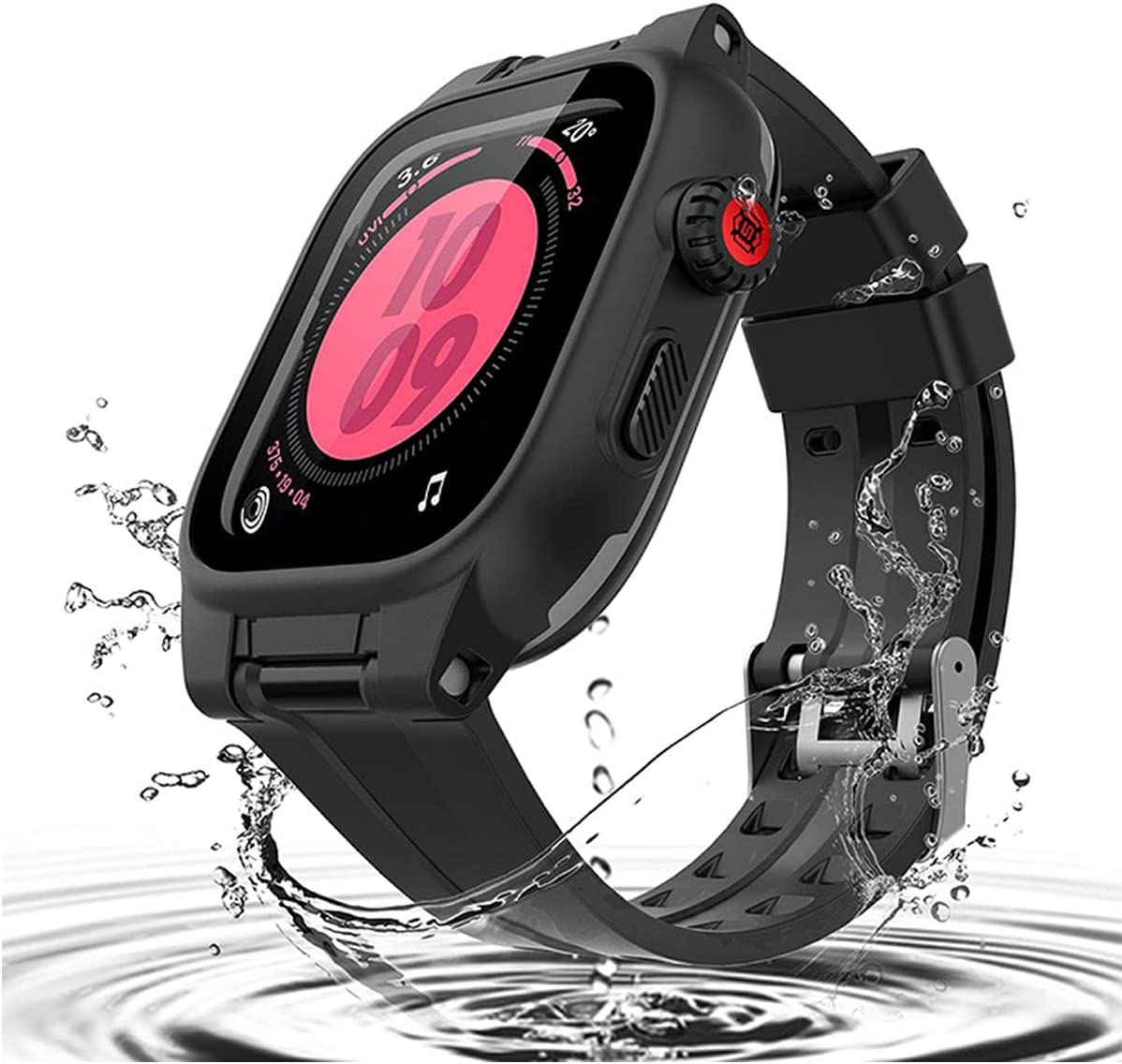 Waterproof Case for 42mm Apple Watch Series 2 3 with Screen Protector, Full Body Protective 42mm iWatch Bands with Case Anti-Scratch Dust-Proof Shockproof Sports Apple Watch Case (Black-42mm)