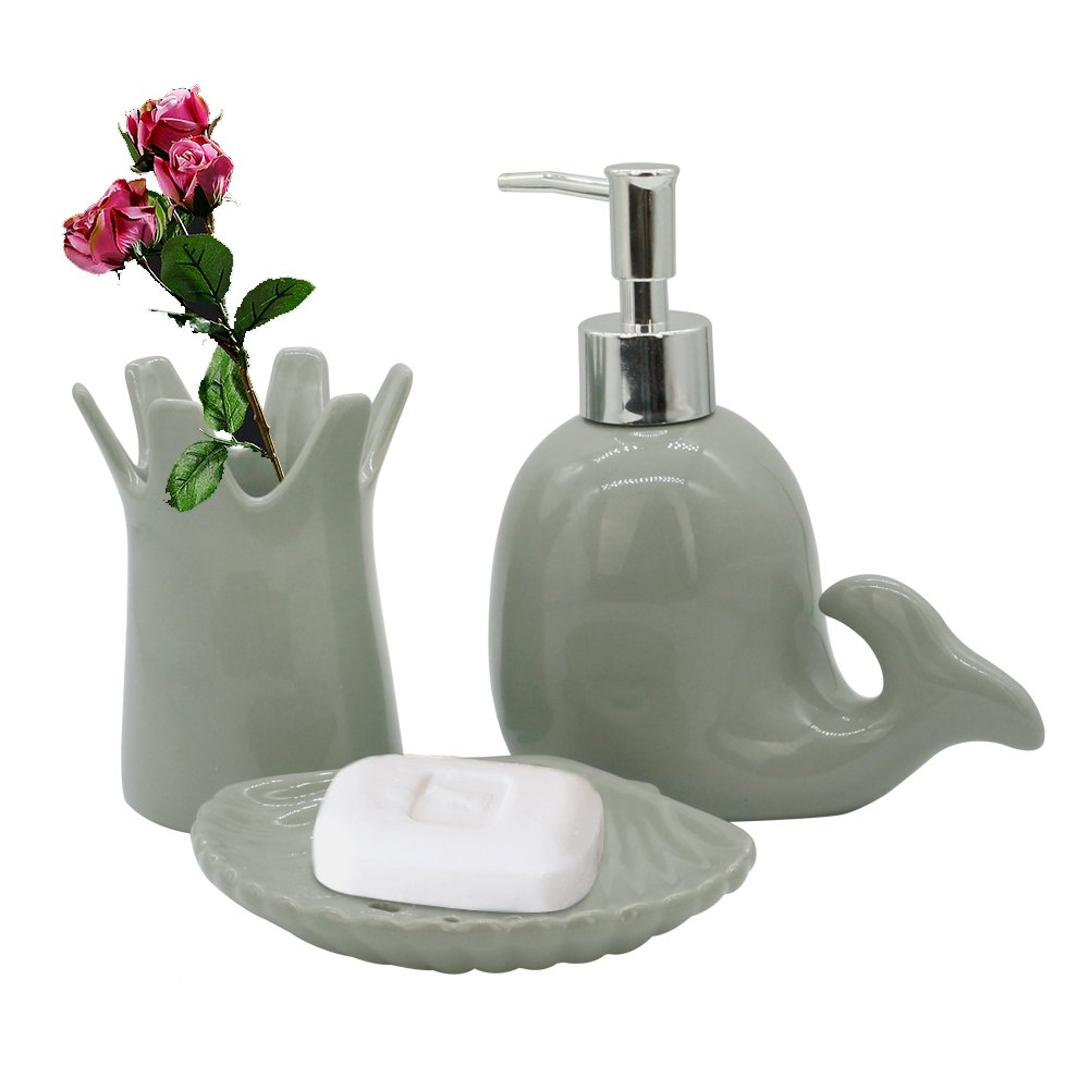 58 Discount On Ceramics Bathroom Accessories Set Cute Grey Dolphin