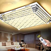 LED ceiling lamp, living room lamp, rectangle crystal lamp, bedroom, restaurant, pendant lamp, remote control, colorful lamps and lanterns, lamps and lanterns,70*50- tricolor