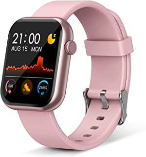 Smart Watch,Fitness Tracker with Heart Rate Monitor,IP67 Waterproof Fitness Watch with Pedometer,Smartwatch Compatible with iOS, Android for Men, Women, Pink