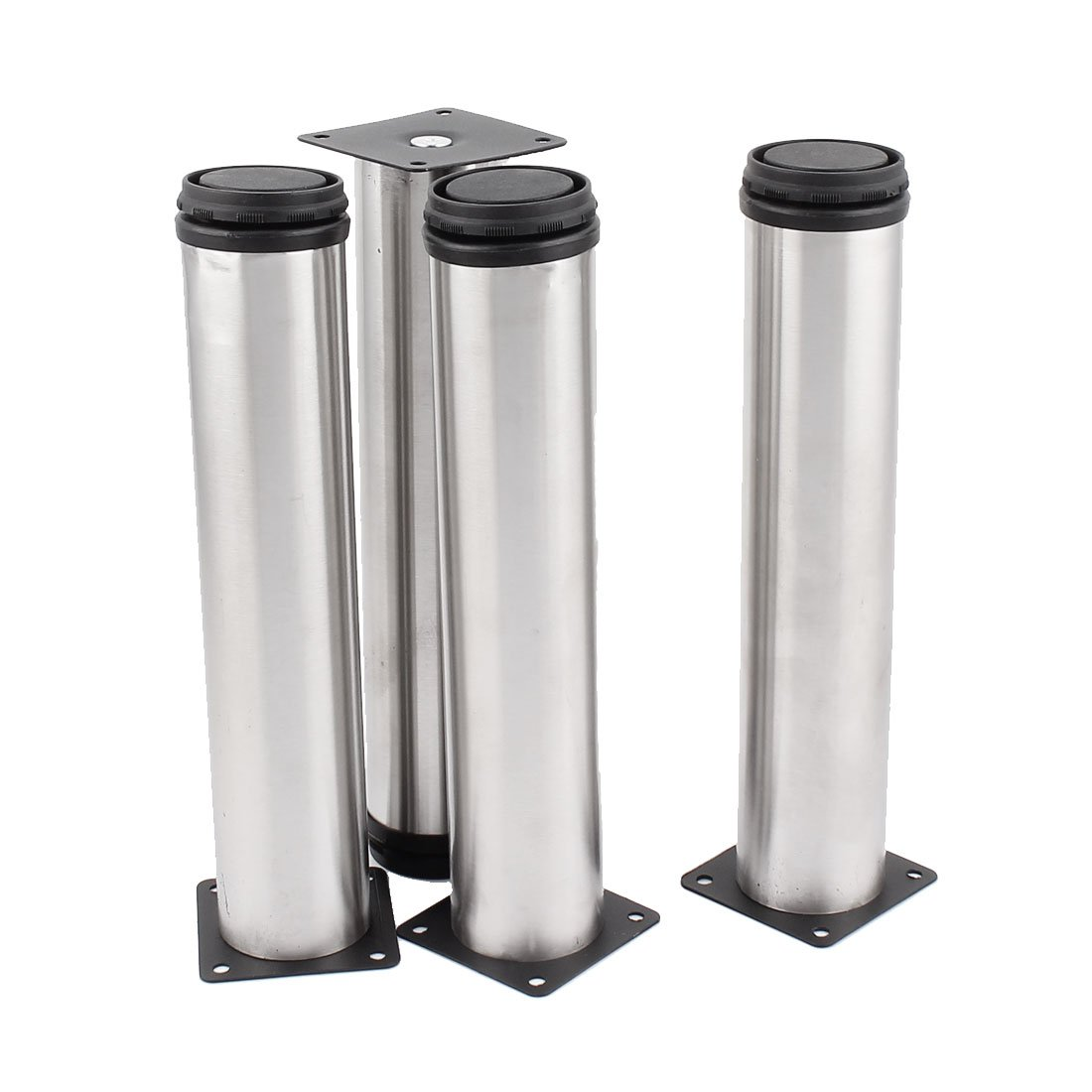 uxcell Round Feet Stand Holder Stainless Steel Adjustable Cabinet Legs 4 Pcs