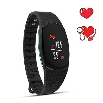 QTEC Montres connectées Bluetooth Smart Bracelet Tensiomètre Moniteur de Fréquence Cardiaque Bracelet Étanche Ip68 Podomètre Montre