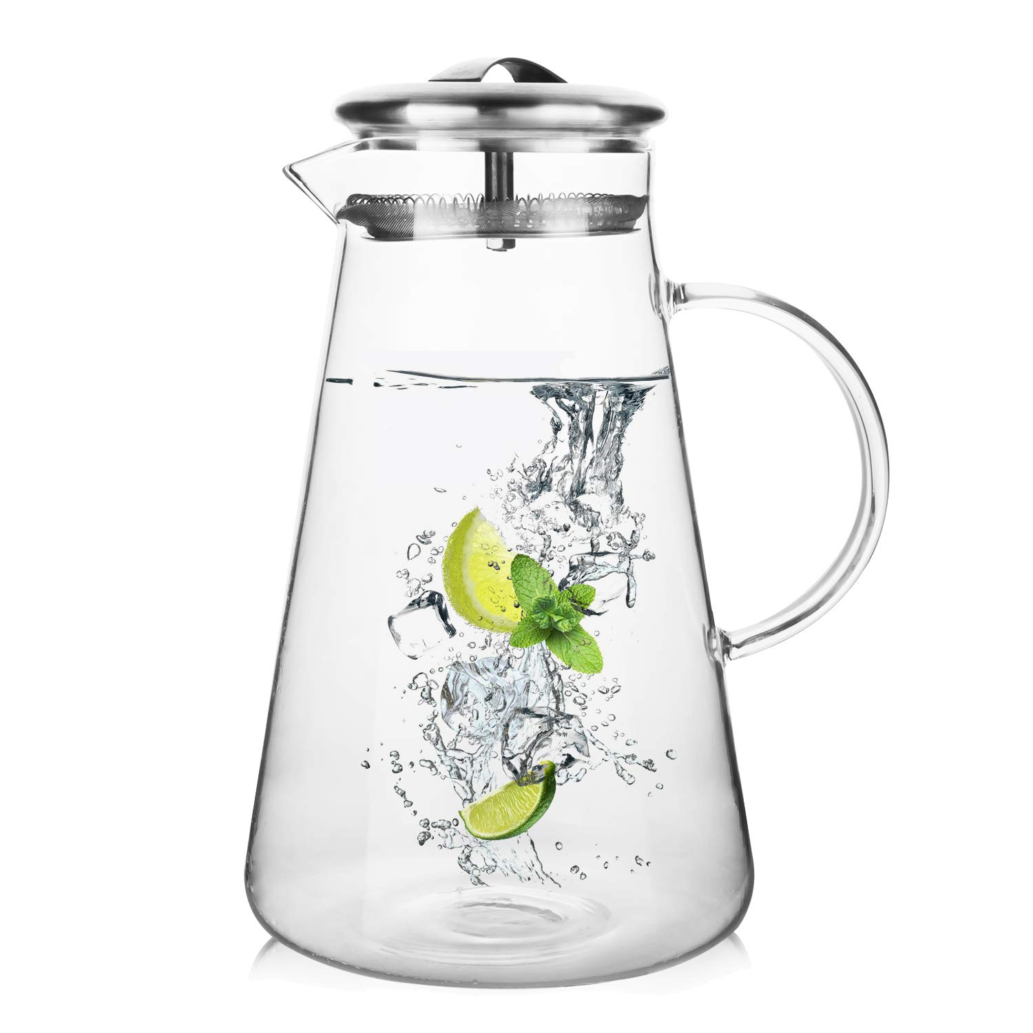 Hiware 68 Ounces Glass Pitcher with Lid and Spout, Heat Resistance Water Carafe for Hot/Cold Water, Refrigerator Pitcher for Homemade Iced Tea & Juice