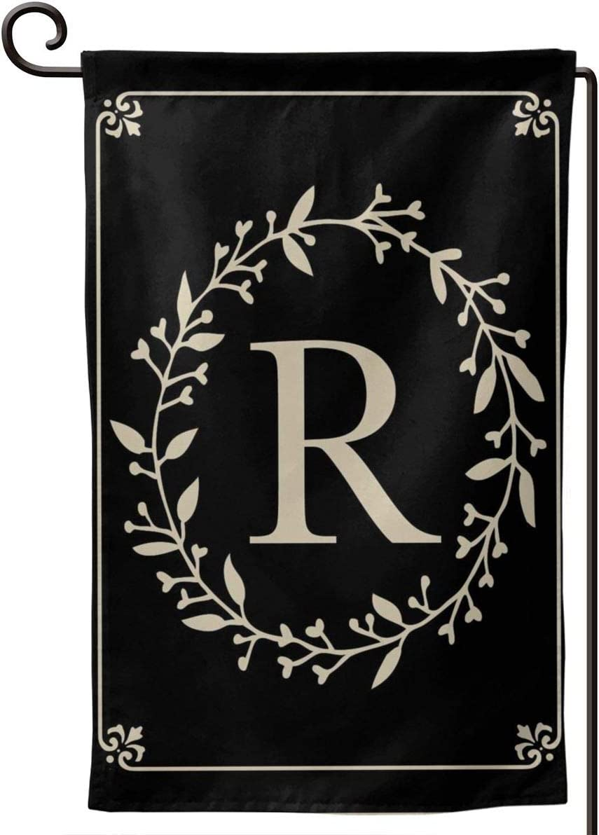 MSGUIDE Garden Flag Vertical Double Sided 12.5 X 18 Inch, Monogram Letter R Welcome House Flag Weather Resistant Banner for Seasonal Yard Outdoor Home Decor