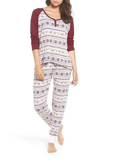250644018b35 PJ Salvage Christmas Ivory Pajamas Thermal Set - Large at Amazon ...