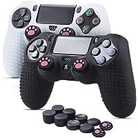 6amLifestyle Funda Skin Controller PS4 Dualshock de silicona antideslizante, 2 fundas para mando PS4 (negro + blanco…