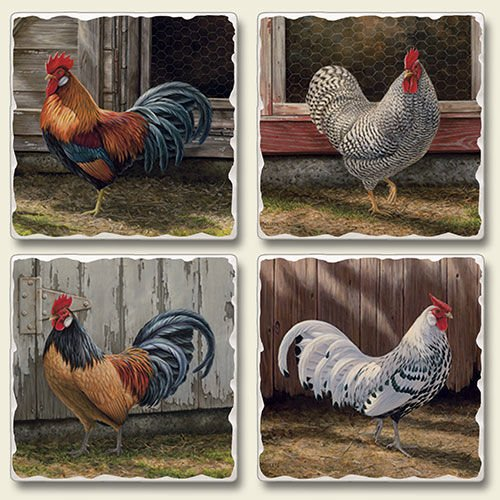 Barnyard Roosters Square Tumbled Coasters product image