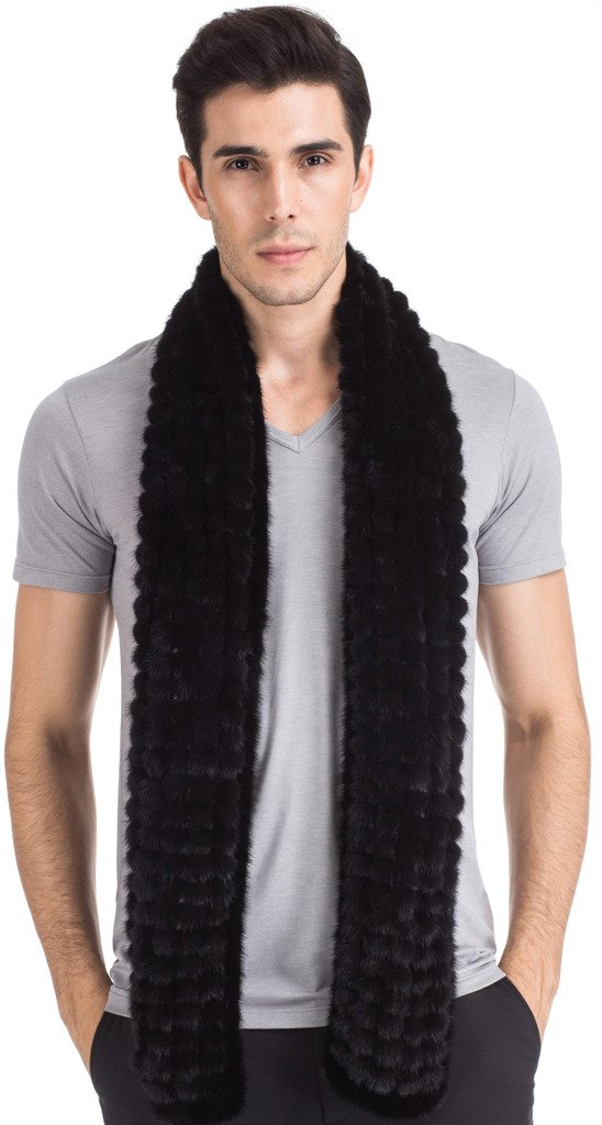 Vogueearth Mens Real Knitted Mink Fur Autumn Winter Long Scarf Black