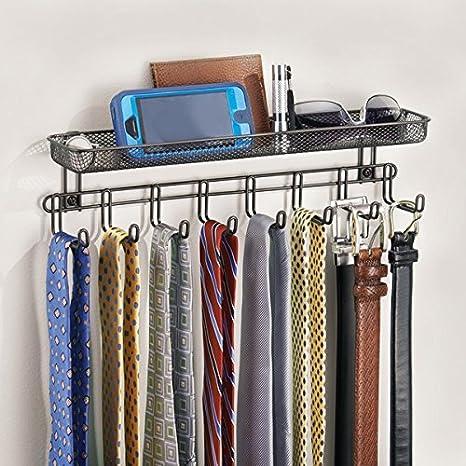 mDesign Perchero de pared con cesta organizadora color bronce - Colgador de collares y accesorios con 8 ganchos - Cuelga collares, aros, joyas, llaves, ...