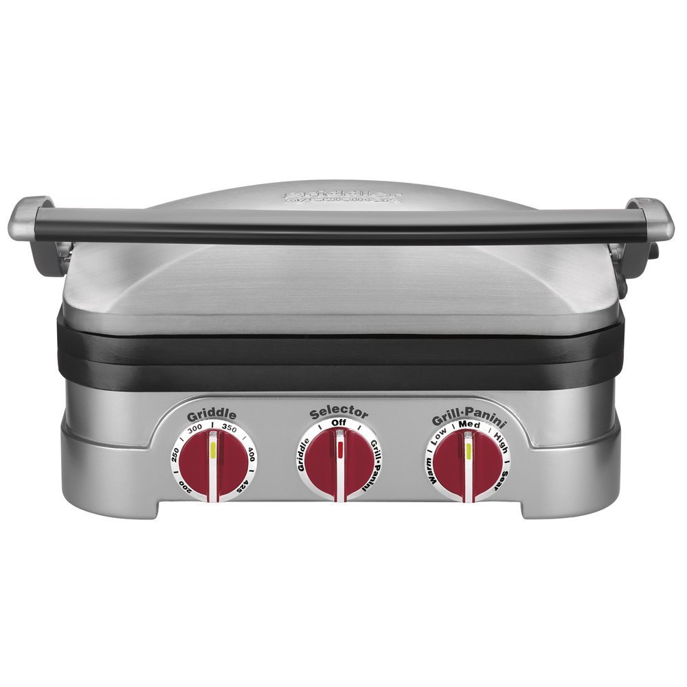 Cuisinart GR-4NR 5-in-1 Griddler, Silver, Red Dials