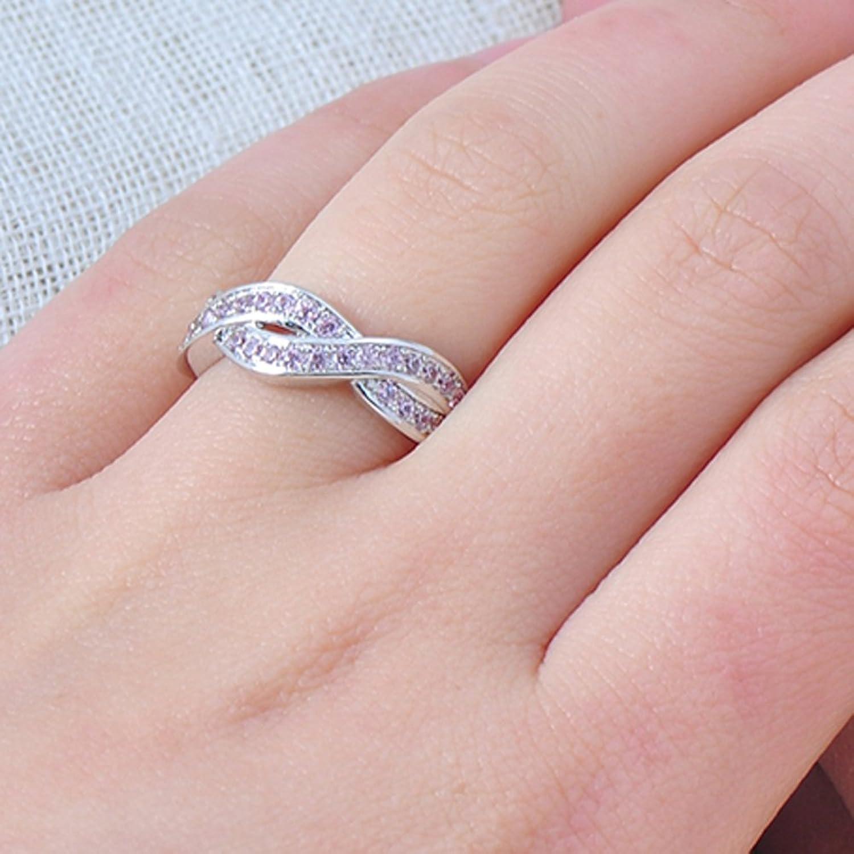 Amazon.com: F&F jewel Cute Pink Cross Rings Silver Filled Wedding ...