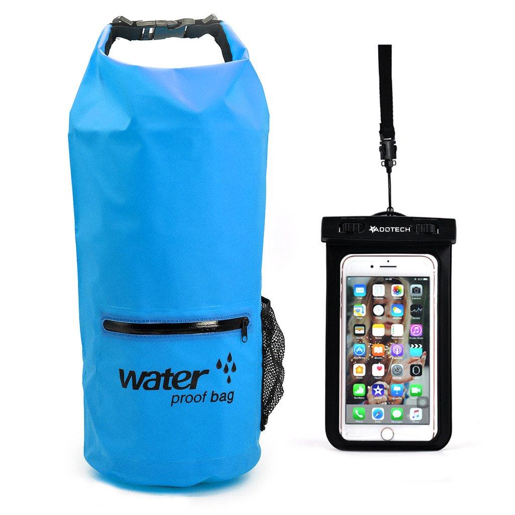 ドライバッグ防水10l / 20l with防水電話ケース – ロールトップドライ圧縮袋の調節可能な肩ストラップKeeps Gear Dry (様々な色) B06XFQ19KH ブルー 20L