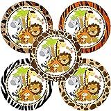 Jungle Safari Animals Sticker Labels - Boy Girl Party Birthday Baby Shower Favor Labels - Set of 50