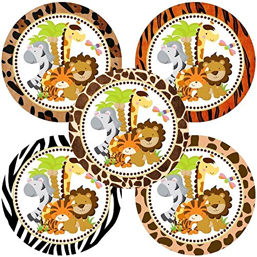 Jungle Safari Animals Sticker Labels - Boy Girl Party Birthday Baby Shower Favor Labels - Set of (Handmade Safari Jungle)